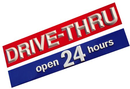 hrs: Drive Thru 24 Hrs illustration of a business establishment Stock Photo