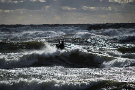 kiting: Kiting during the storm in Baltic sea at sports event