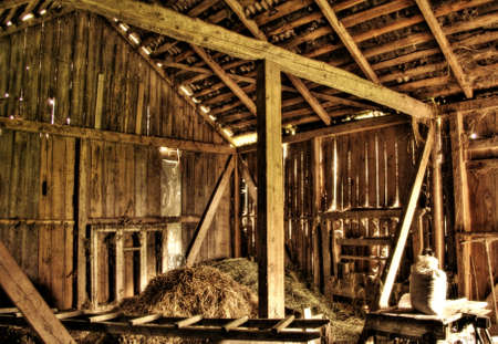 wooden beams: Interior of abandoned old barn at Lithuanian countryside