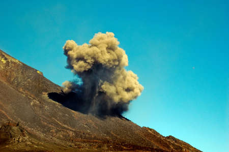 tremor: Cloud of ashes at Etna eruption Stock Photo
