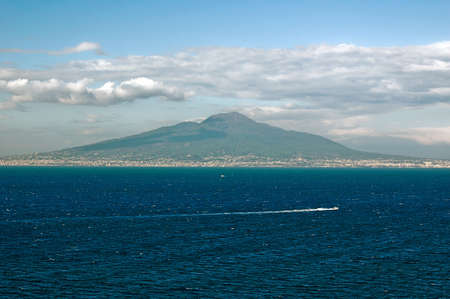 View at vesuvio and naples from Sorrento Italy Standard-Bild