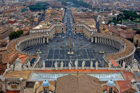 Close up view at piazza st. pietro in Vatican Rome Editorial