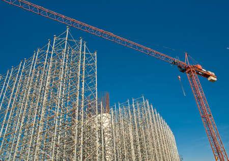 Bridge foundation with crane under construction  Standard-Bild