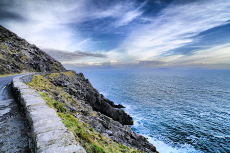 county: Sunset on the road in Dingle peninsula coastline