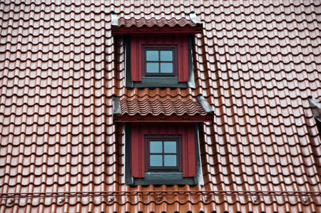 Roof with ceramic tiles intensyve dark red colour Stock Photo - 5261382