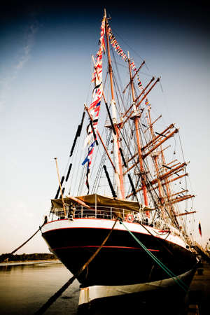 Aft of the Tall ship in port old film look photo