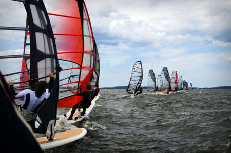 windsurfers in Baltic sea during competition open water