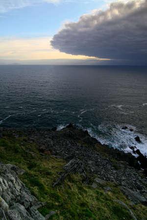 Thunderstorme eye approaching ireland coast at dingle peninsula sle head