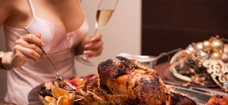 Image for perfect  ilustration of traditional thanksgiving or Christmas table photo