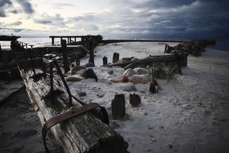old abandoned sea bridge near forgotten harbor Stock Photo - 6206702