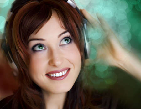 Woman attractive with headphones smiling Lense flare bokeh red and blue defocused photo