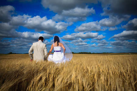 wedding begining of new life fertility among rye fields