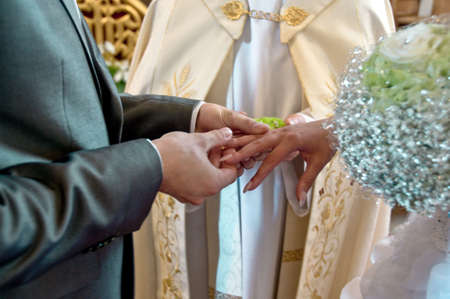 Moment of wedding ceremony in church