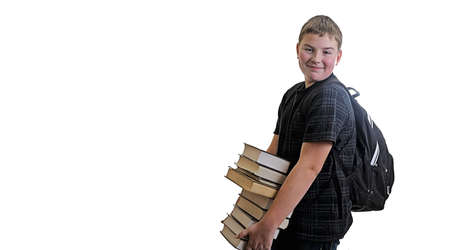 Happy student child going back to school from library photo