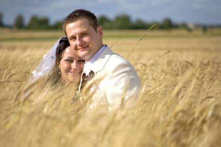 wedding begining of new life fertility among rye fields photo