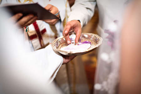 Moment of wedding ceremony in church closeup