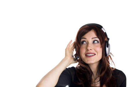 Woman with headphones isolated on white various emotions