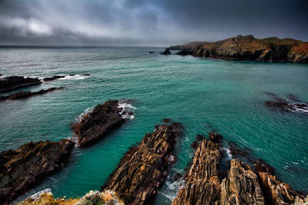 hdr: Irish coastline cliff landscape intense colors Stock Photo