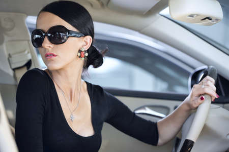 Sexy woman in luxury car with long legs Stock Photo - 16729253