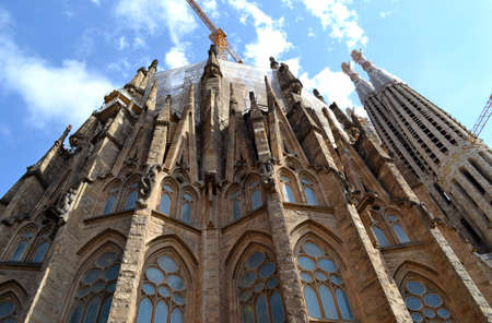 Expiatory Church of Holy Family  Sagrada Familia  by architect Gaudi, building is begun in 1882, Barcelona, Spain