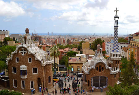 Park Guell Antoni Gaudi in Barcelona, gingerbread House, September 21, 2012, Spain