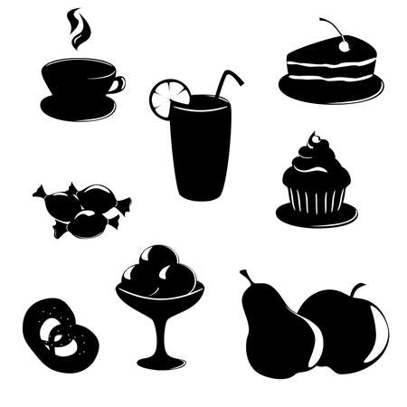 Dessert food and drink black-white icons set