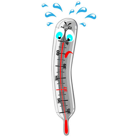 high temperature: Mercury thermometer showing high temperature Stock Photo
