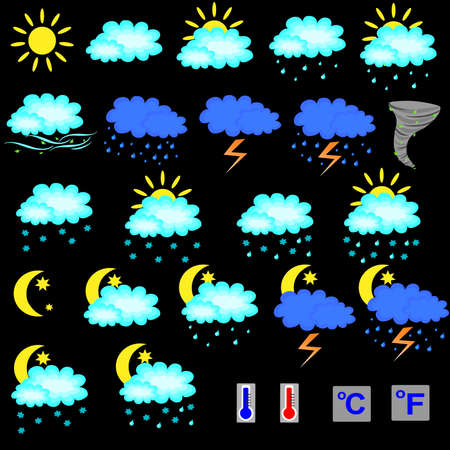 Set of weather forecast icons Stock Photo