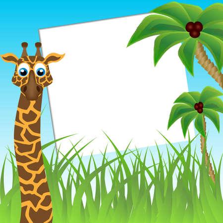 Children s photo framework  Funny giraffe on background of palm trees photo