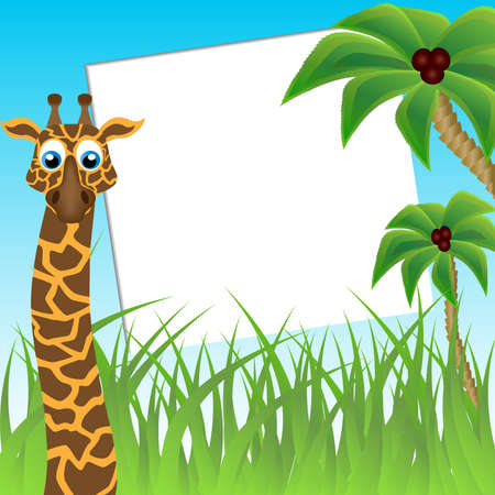 Children s photo framework  Funny giraffe on background of palm trees Stock Photo