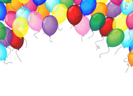 Set of colored balloons, frame composition with space for your text