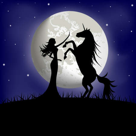 legends folklore: Silhouette of beautiful girl and unicorn on a background of the night sky