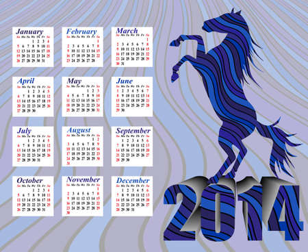 Calendar to a new 2014 year - rearing up graceful silhouette horse Stock Photo