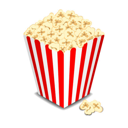 Box with popcorn, illustration Stock Photo
