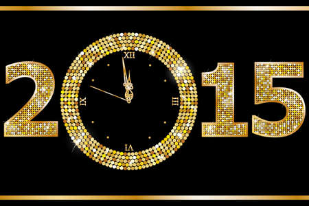 new year card: New Year Clock