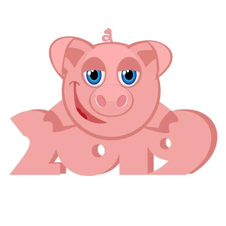 Happy New Year 2019 with cartoon pigs Çizim