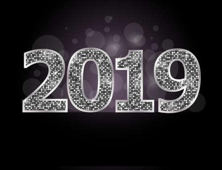 Happy new year 2019 illustration Çizim