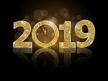 Feliz año nuevo 2019 ilustración