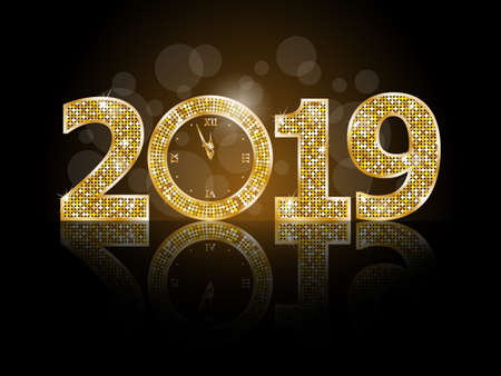 Happy new year 2019 illustration Çizim