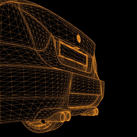 exhaust: wireframe car