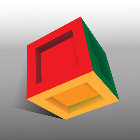 yellow block: 3D box Illustration