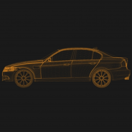 wireframe car front Vector