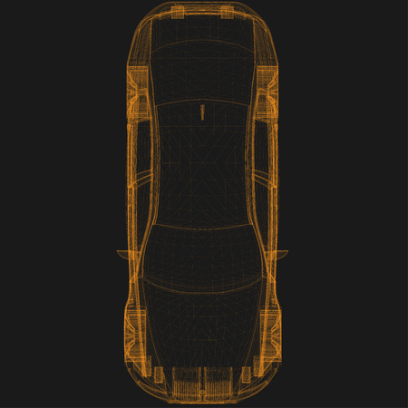 car showroom: wireframe car top