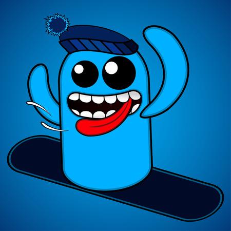 Cute Snowboarding Figure Character    Illustration