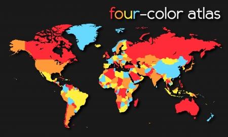 Four-color World Map     イラスト・ベクター素材