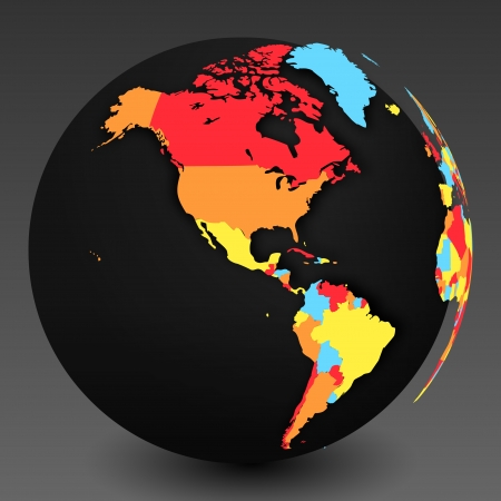 realist: 3D World Map Symbol with Shadow and Nation Borders  Illustration