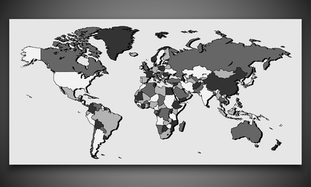 World Map with Border     Vector