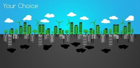 Clean Energy or Pollution  Your Choice Vector