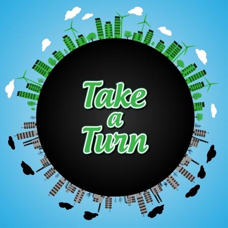 Take a Turn Go Green    Vector