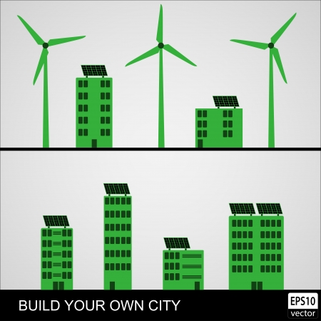 Green Energy City Elements    Vector